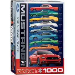 empireposter Puzzle Ford Mustang Evolution 50 Jahre - 1000 Teile Puzzle im Format 68x48 cm, Puzzleteile