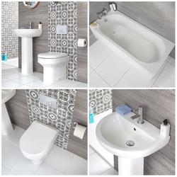 Bad Set: Standwaschbecken, WC mit Unterputz-Spülkasten & Badewanne - Covelly, von Hudson Reed