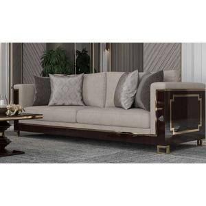 Casa Padrino Luxus Art Deco Sofa Hellgrau / Dunkelbraun Hochglanz / Gold - Handgefertigtes Massivholz Wohnzimmer Sofa mit edlem Samtsoff - Luxus Qualität - Art Deco Möbel