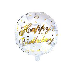Happy Birtday Folien Luftballon Rund Geburtstag Kindergeburtstag Jubiläum weiß gold