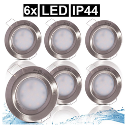 etc-shop LED Einbaustrahler, 6er Set LED Einbau Einbau Lampen ALU Strahler Leuchten Schlaf Zimmer Spot silber