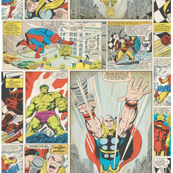 Papiertapete Marvel Comic Strip, 1000 cm Länge