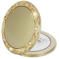 Fantasia Taschenspiegel, rund, Gold 10-fach Vergrößerung, Swarovski Elements, Ø 8,5 cm,