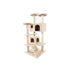 muchen Kratzbaum Kratzbaum Sisal Kletterbaum mit Treppe, Höhle, Plattform, Stabiler Katzenkratzbaum Katzenspielhaus 132 cm, Beige
