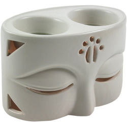 Guru-Shop Duftlampe Keramik Duftlampe - Buddha 2 weiß 12 cm x 8 cm x 7 cm
