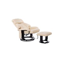 HOMCOM Massagesessel TV Sessel und Hocker mit Massage- und Heizfunktion weiß