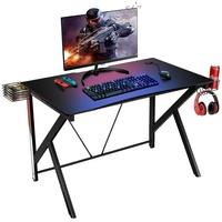 COSTWAY Gaming Tisch PC Tisch Schreibtisch mit Getränkehalter, Kopfhörer Haken und Videoablage schwarz