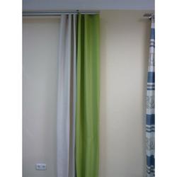 Dekoschal Gardine Vorhang mit Wellenband apfel grün beige, abdunkelnd, fertig genäht