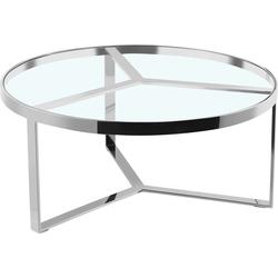 Leonique Beistelltisch Palmer, rund, Gestell aus Edelstahl, Glastisch