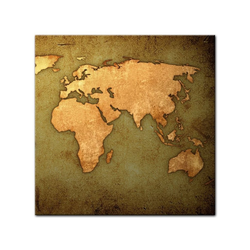 Bilderdepot24 Leinwandbild, Leinwandbild - Weltkarte 80 cm x 80 cm