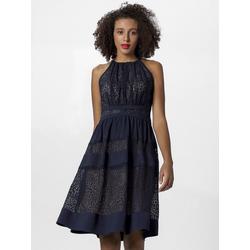 Apart Abendkleid mit blickdichten Streifen und nudefarbenem Futter blau 36