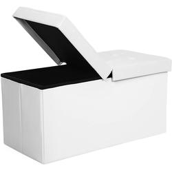 SONGMICS Sitzbank LSF45WT LSF45BK, 80 L Sitzbank Sitzhocker, weiß weiß
