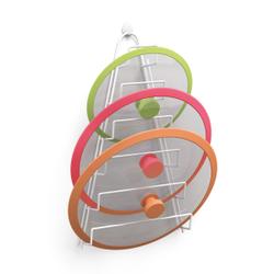 Metaltex Kiwi Topfdeckelhalter, plastifiziert, Deckelaufbewahrung aus LDPE für sechs Deckel, Maße: 23 x 7 x 42 cm
