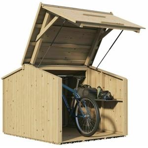 Fahrradgarage abschließbar Bikebox Fahrradschuppen Unterstand Holz