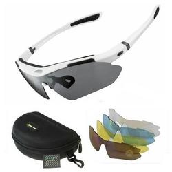 ROCKBROS Fahrradbrille Fahrradbrille Polarisiert Sportbrille WEISS Sonnenbrille Brille UV400 + ETUI + 4 Ersatzgläser