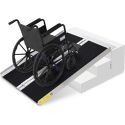 HOMCOM Rollstuhlrampe faltbar silber, schwarz 93 x 76 x 5 cm   Auffahrrampe für Rollstühle und Rollatoren Rampe