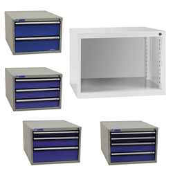 ADB Schubladenbox Schubladenschrank Schubladencontainer mit 2-4 Schubladen 300mm, Anzahl Schubladen: 3 Schubladen (50. 100. 150 mm)