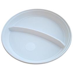 Teller 2-geteilt weiß aus PS, rund Ø 22 cm, 100 Stk.