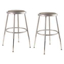 2pk Adjustable Heavy Duty Vinyl Padded Steel Stool Gray - Hampton Collection