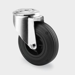 Transportrolle, drehbar, 160 mm, schwarzer gummi, mittelloch