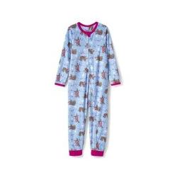 Gemusterter Schlaf-Jumpsuit aus Fleece, Kids, Größe: 146/152 Kind, Blau, by Lands' End, Kristallblau Faultier - 146/152 - Kristallblau Faultier