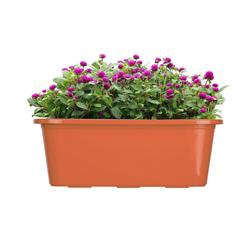 BigDean Blumenkasten für den Balkon − 2x Balkonkasten 40 cm Terrakotta (2 Stück) braun 40 cm