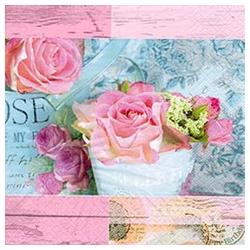 Linoows Papierserviette 20 Servietten Pariser Rosen, Rosengruß in romantis, Motiv Rosengruß in romantischem Rosa