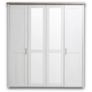LUCA Eleganter Kleiderschrank im Landhausstil 4-türig - Vielseitiger Drehtürenschrank mit zwei Spiegeltüren in Pinie Weiß / Trüffel - 195 x 212 x 62 cm (B/H/T)
