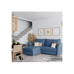 PLACE TO BE. Schlafsofa, Schlafsofa Insideout 85 mit Recamiere links blau