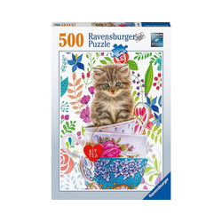 Ravensburger Puzzle Puzzle Kätzchen im Tässchen, 500 Teile, Puzzleteile