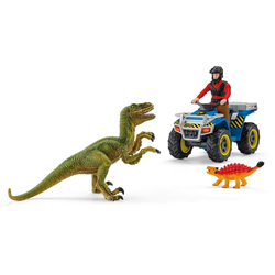 Schleich® Spielzeug-Quad Dinosaurs, Flucht auf Quad vor Velociraptor (41466), (Set)