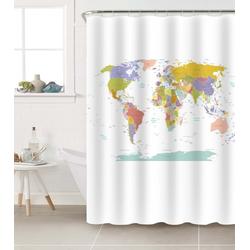 Duschvorhang Weltkarte 180 x 200 cm