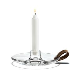 HOLMEGAARD Kerzenleuchter Design With Light Kerzenhalter Ø16cm aus Glas mit dekorativem Ledergriff