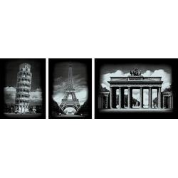 VBS Kunstdruck Bauwerke, Silber, 3 Motive, 25,2 cm x 20 cm