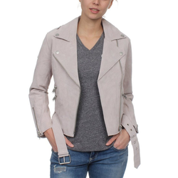 Superdry Lederjacke Superdry Lederjacke Damen PIPER SUEDE BIKER Light Grey L