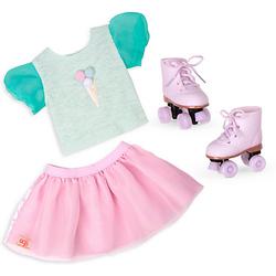 Outfit mit T-Shirt, Tüllrock und Rollschuhen 46 cm Puppen  Kinder