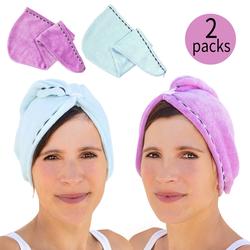 2x Haar Handtuch Turban Kopfhandtuch Schnelltrocknend hellblau lila im Set