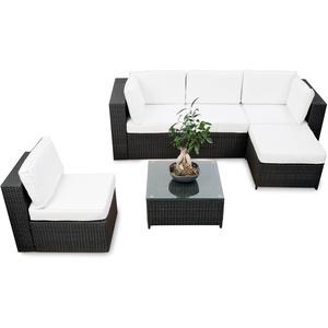 XINRO® erweiterbares 18tlg. XXL Lounge Set Polyrattan - schwarz - Gartenmöbel Sitzgruppe Garnitur Lounge Möbel Set aus Polyrattan - inkl. Lounge Sessel + Ecke + Hocker + Tisch + Kissen