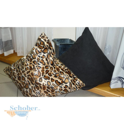 Kissen Bezug Kissenhülle in Tierfelloptik Leopard braun schwarz, 50 x 50 cm