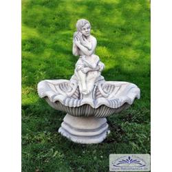 SA-N14 Muschel Wandbrunnen mit ovaler Schale und Figur 91cm 130kg Beton Steinguss Brunnen
