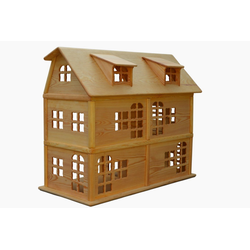 Madera Spielzeuge Puppenhaus Puppenhaus aus Kiefern Holz,6 Zimmer, Puppenhaus ohne Möbel