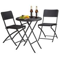 Relaxdays Bastian Set 3-tlg. Tisch Ø 60 x 75,5 cm schwarz klappbar