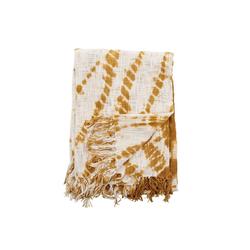 Wohndecke Bloomingville Batik Decke, Ibiza Plaid ocker, Tagesdecke, Sofa Couch Überwurf, 160 x130 cm, Bloomingville
