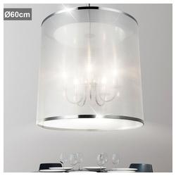 etc-shop Kronleuchter, Kronleuchter Pendelleuchte Wohnzimmerleuchte Esstischlampe Hängeleuchte, Chrom Metall Garn, weiß, D x H 60 x 140 cm