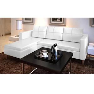 vidaXL L-förmiges Sofa 3-Sitzer Kunstleder Weiß