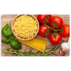 Wallario Frühstücksbrett Spaghetti mit Tomaten, Knoblauch und Basilikum, ESG-Glas, (1-St), 14 x 23 cm