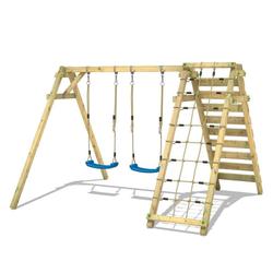 Wickey Doppelschaukel Schaukelgestell Smart Cliff - Schaukel, Schaukelgerüst, Kinderschaukel, Holzschaukel mit Kletteranbau