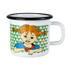 Muurla 'Hier kommt Pippi' Tasse 15 cl Emaille Grün