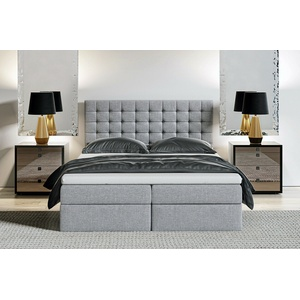MAGNUS 6A Boxspringbett Ehebett mit Bettkasten 180x200 grau versandfertig