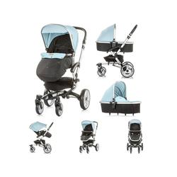Chipolino Kombi-Kinderwagen Kinderwagen Angel 2 in 1, Babywanne, Sportsitz, Abdeckung, Ledergriff blau